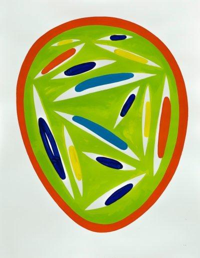 Verde,2021,pigments purs et liant acrylique sur papier d'Arches,106,7x82cm.