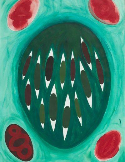 Verde e rosso,2020,pigments purs et liant acrylique sur papier d'Arches,111x76cm.