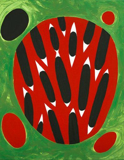 Rosso e nero,2020,pigments purs et liant acrylique sur toile,60x50cm.