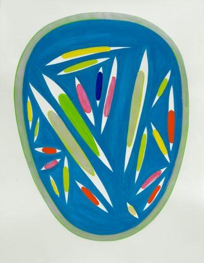 Blu,2021,pigments purs et liant acrylique sur papier d'Arches,150x106,7cm.