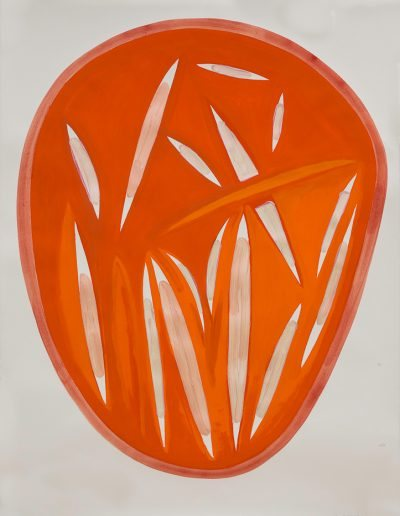 Arancione III,2021,pigments purs et liant acrylique sur papier d'Arches,150x106,7cm.
