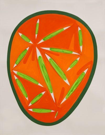 Arancione II,2021,pigments purs et liant acrylique sur papier d'Arches,150x106,7cm.