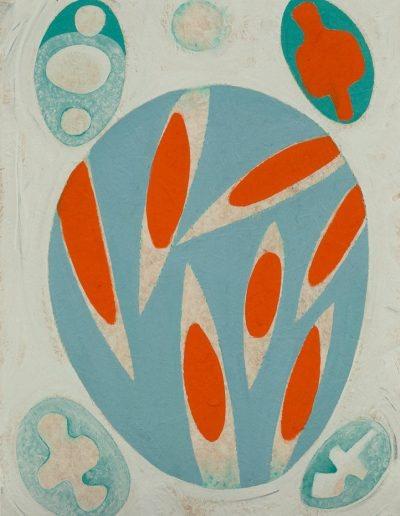 Alba fredda,2020,pigments purs et liant acrylique sur papier marouflé sur bois,72,5x52,5cm.